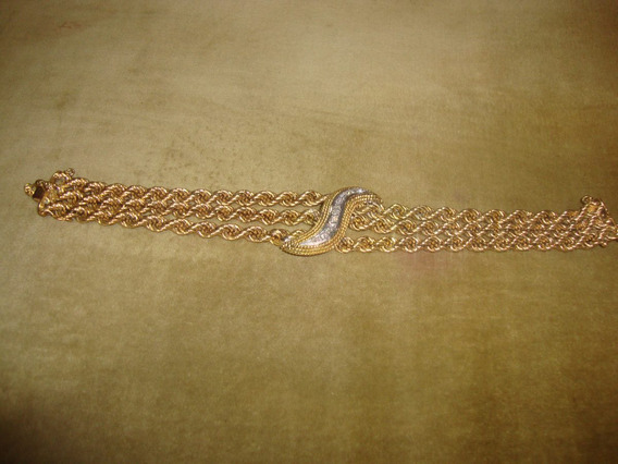 Bracelete Em Ouro Puro, Antigo, Mais Brilhantes.