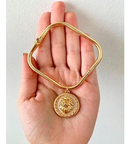 Bracelete Folheado A Ouro 18k Quadrado Com Pingente Lion