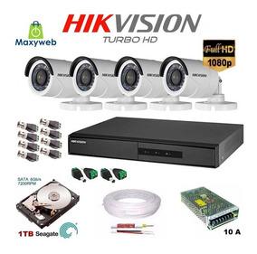 Kit Cftv 4 Câmeras Infra Full Hd 1080p 2m Dvr Hikvision 3m