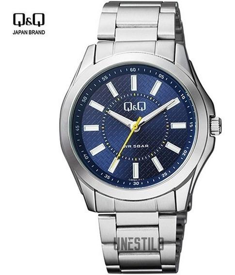 Reloj Q&q Hombre Analógico Azul Metal Acero Casual Q