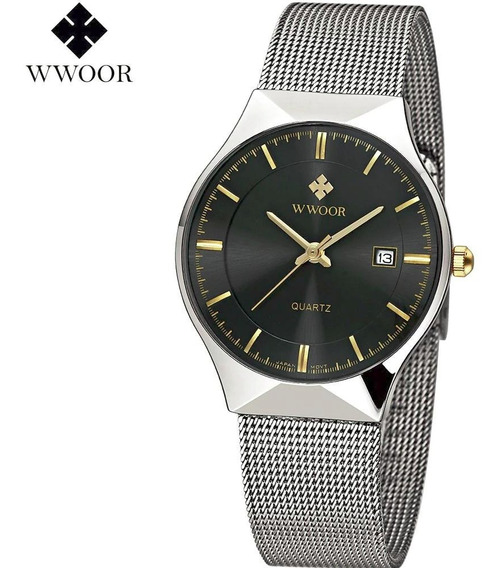 Relógio Masculino Wwoor Original Fino Em Inox Importado