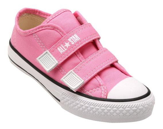 Tenis All Star Converse Border S/ Cadarço Infantil Rosa + Nf