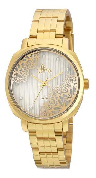 Relógio Allora Listras E Rendas Al2035fgi/k4k Dourado