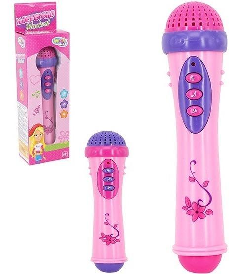 Brinquedo Microfone Musical Infantil Luz E Som Menina A Pilh
