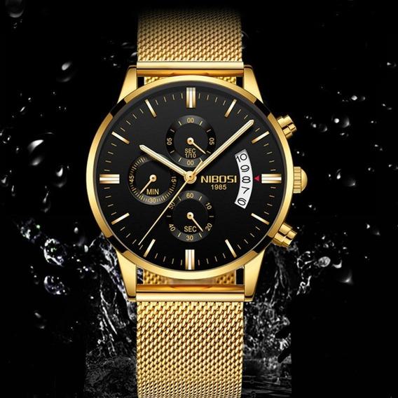 Relógio Masculino Nibosi Original Aço Safira Imponente Luxo
