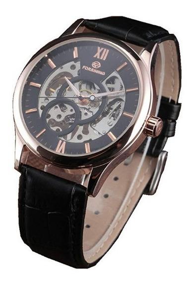Reloj Caballero Forsining Automático Correa De Piel Negro