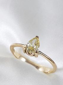 Anel Solitário Moderno Ouro Amarelo Diamante Gota 50 Pontos