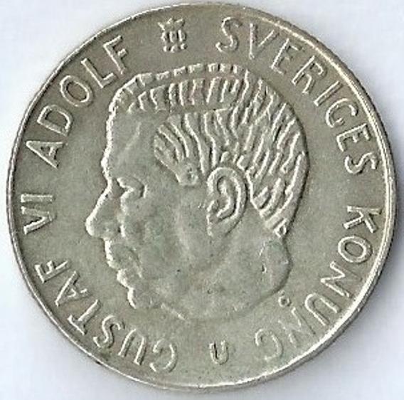 Suecia 1967 1 Krona Moneda De Plata Gustaf Vi Adolf Xx4012