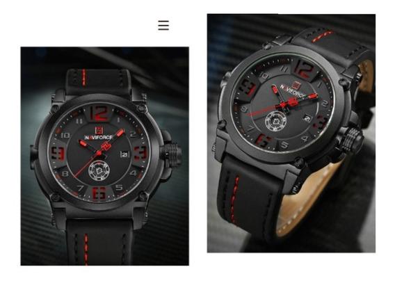 Relógio Navforce 9099 Preto Vermelho Militar Esporte