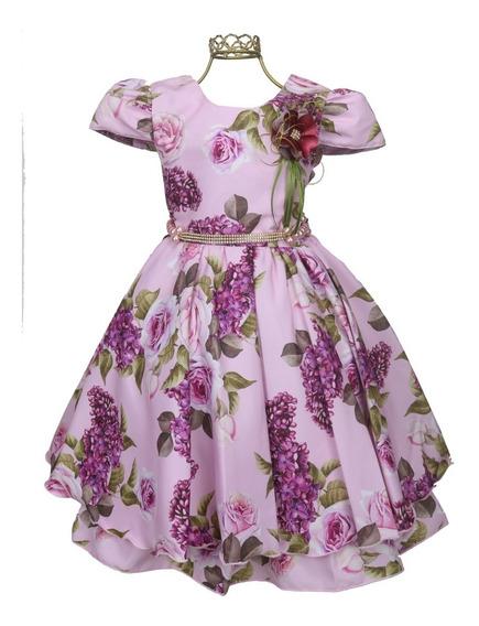 Vestido Estampa Floral Luxo Aniversário Festa Casamento 739r