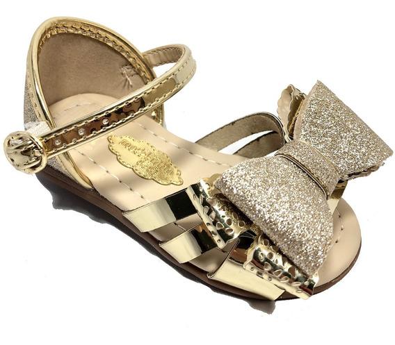 Sandália Infantil Molekinha Glitter Laço 2114138 Glamour