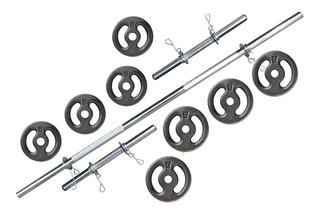 Kit Halteres + Anilhas 20kg Com 2 Barras De 40cm Cromadas