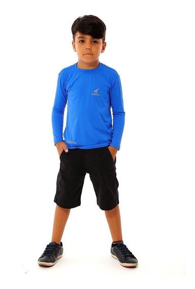 Kit Com 4 Camisetas Uv Proteção Solar Infantil E Juvenil