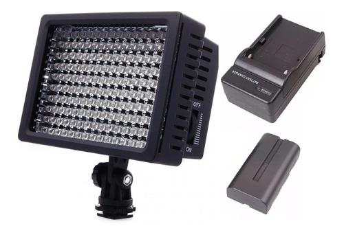 Imagem 1 de 11 de Iluminador Led 160 Wansen + Bateria + Caregador Nikon Canon
