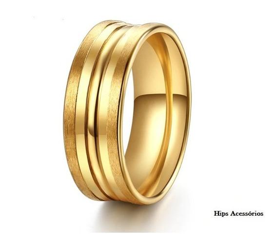 Anel Aliança Linha Designer Dourada Ou Prata