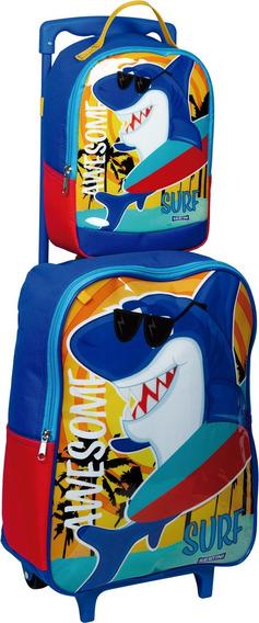 Kit Mochila Shark Tubarão Surf Infantil Coleção 2020 Sestini