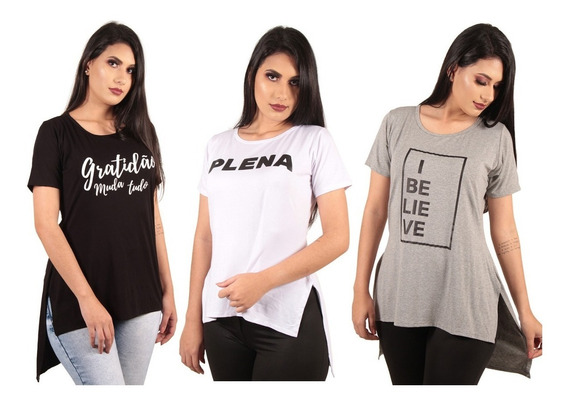 Comprar Camisas Blusas Roupas Femininas Long Line Estampadas