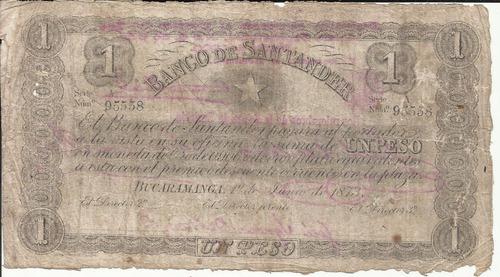 Imagen 1 de 2 de Colombia 1 Peso 1 Junio 1873 Banco De Santander
