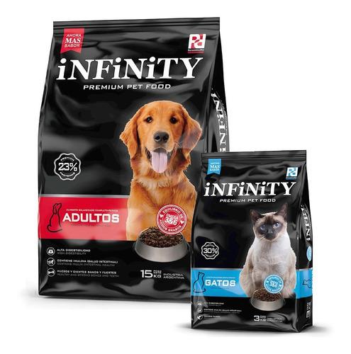 Perros Adultos Infinity Premium 15 Kgs + Alimento Gatos 3 Kg