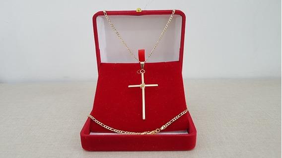 Corrente Masculina Folheada Ouro 70cm Com Pingente Crucifixo