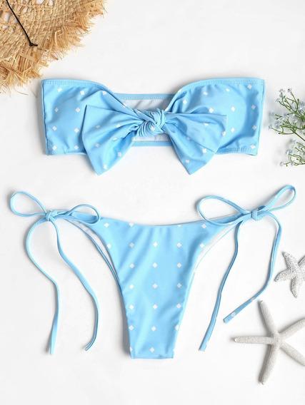 Sexy Yo - Tie Punteado Bandeau Acolchado Talle Bajo Bikini S