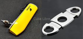 Kit Isqueiro Maçarico 3 Chamas Cohiba + Cortador De Charutos