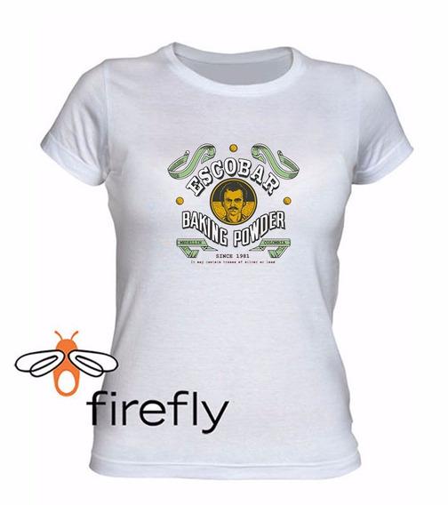 Remera Pablo Escobar Mujer Blanca Coleccion 1 Firefly
