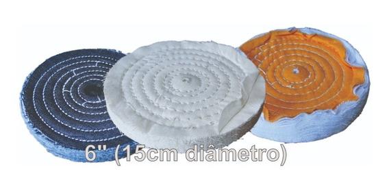 Kit 3 Rodas Discos Polimento 6 Polegadas Sisal Algodao Flane