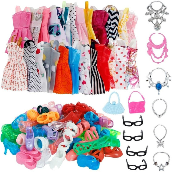 Roupa Boneca Barbie Kit 32 Acessorios Sapato Oculos Bolsa