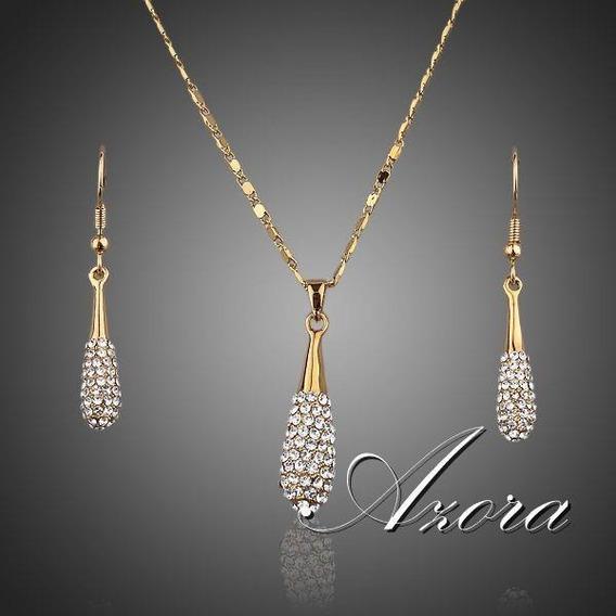 Colar + Brinco Ouro 18 K Stellux Cristal Austríaco Conjunto