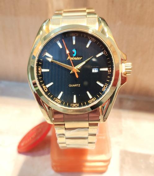 Relógio Masculino Dourado Pointer Marcador De Data D059