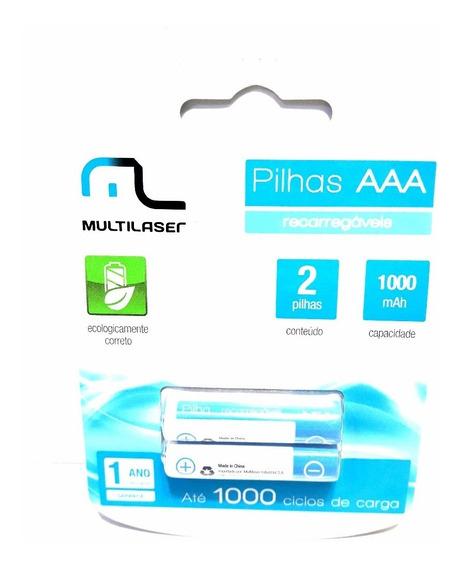 Pilha Recarregável Aaa C/2 Pilhas 1000mah Multilaser Cb051