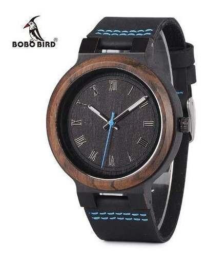 Relógio Pulso Madeira Bambu Bobo Bird P. Couro Ecológico