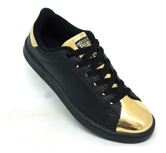 Tênis adidas Stan Smith Preto E Dourado Promoção