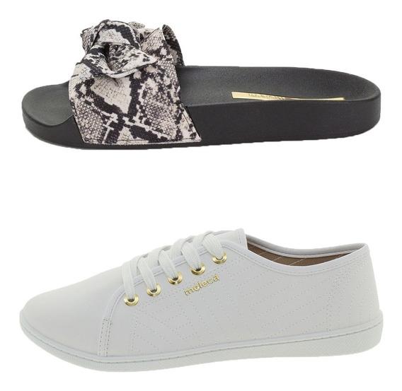 Tenis Branco Feminino Moleca + Sandalia Preta Slide Moleca