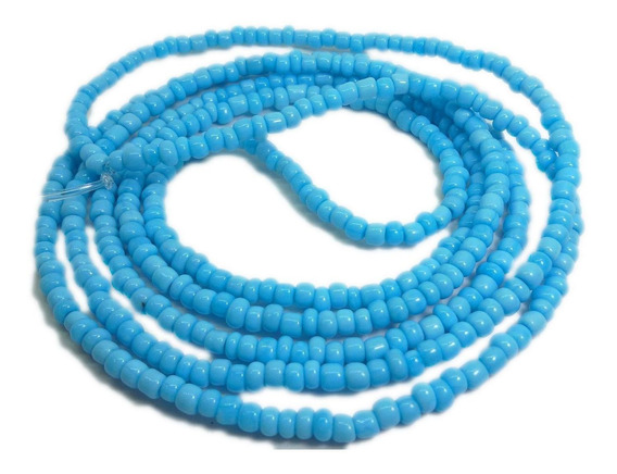 Colar Guia De Miçanga Azul Claro Iemanjá