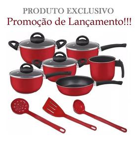 Conjunto De Panelas Vermelho 09 Peças Teflon - Red Edition