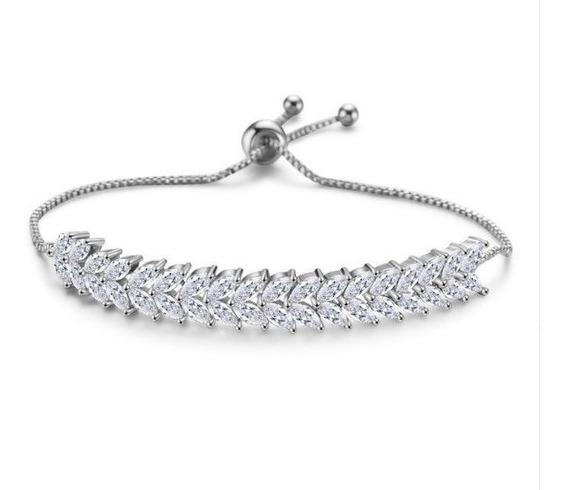 Pulseira Bracelete Prata Com Zircônia Noiva Debutante Festa