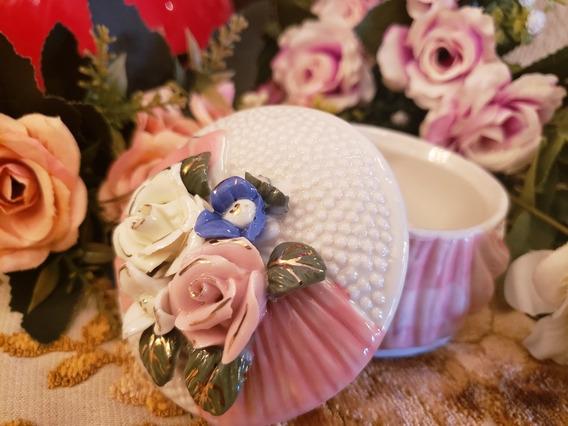 Caixa Porta Joias Porcelana Com Apliques De Flores,linda!!!