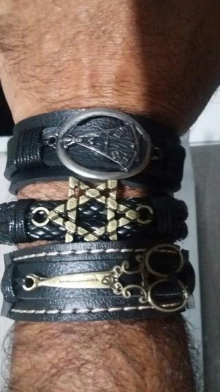 Pulseira Bracelete Couro Fecho Ajustável Fem Masc Und