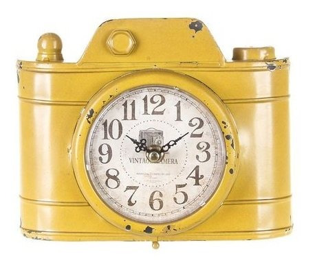 Relógio De Mesa Câmera Amarela