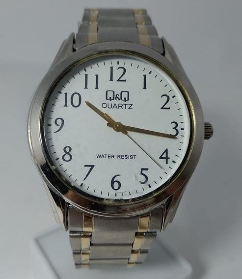Relógio Q&q Vw46-404y Unissex Prata Fundo Branco By Citizen