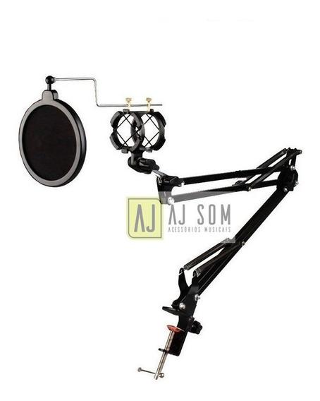 Pedestal Articulado+shock+anti Puff,haste P/microfones,rádio