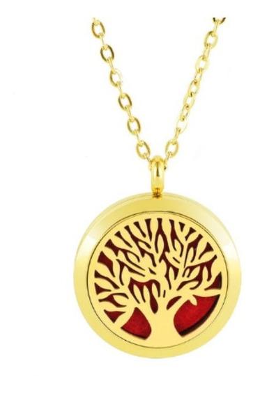 Colar Aromático Difusor Pessoal Aço Inox Árvore 2cm Dourado