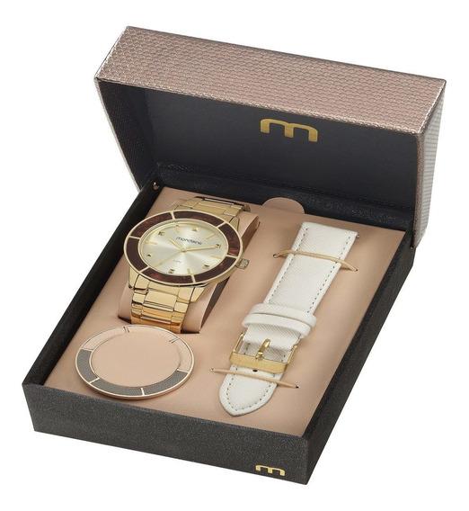 Kit Relógio Com Pulseira E Caixa Adicional Feminino 99265lpm