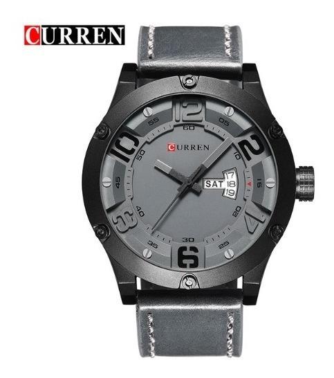Relógio De Pulso Curren 8225 Cinza - Pulseira De Couro
