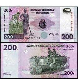 Congo (ex Zaire) 200 Francos 2007 P. New Fe (g&d) Tchequito