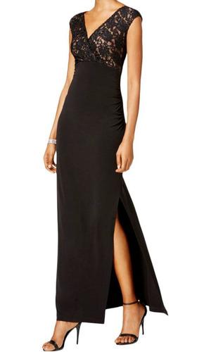 Vestido De Fiesta Elastizado Encaje Negro Tajo Xl Serenity