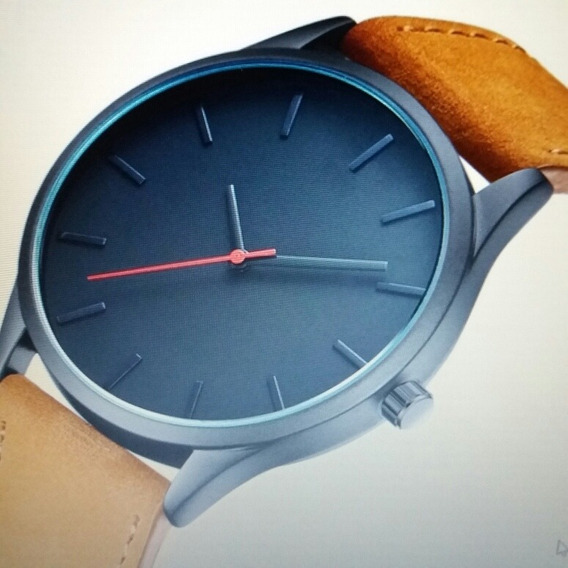 Relógio Quartz Elegante, Couro Legitimo