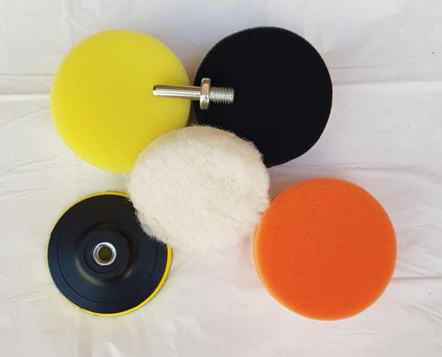 Imagen 1 de 6 de Kit Backing 3 Pulgadas + 3 Pads De Pulido + Cordero + Acople